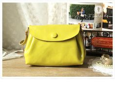 Leather Satchel - Leather Messenger - Crossbody Bag in Yellow. $109.00, via Etsy.
