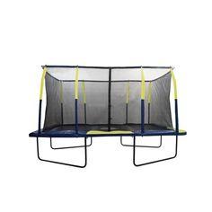 """Bring bouncing fun to your own backyard with this """"New Upper Bounce Easy Assemble 9 X 15 Rectangular Trampoline with the Fiber Flex Enclosure Feature"""". This """"Upper Bounce"""" rectangular trampoline will Best Trampoline, Backyard Trampoline, Rectangle Trampoline, Professional Trampoline, Black Rectangle, Mesh Material, Steel Frame, Things That Bounce"""