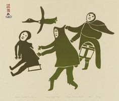 """""""Family Startled by a Goose,"""" Lucy Qinnuayuak, Kinngait, Printed by Lukta Qiatsuq. (Artwork courtesy Dorset Fine Arts and the Inuit Art Foundation. Images copyright the President and Fellows of Harvard College. Inuit People, Harvard College, Inuit Art, Historical Art, Indigenous Art, Canadian Artists, Outsider Art, Native Art, Art Themes"""