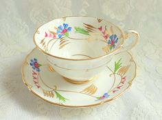 Vintage Royal Chelsea Hand Painted Blue Flower Teacup Wide Mouth 1950s