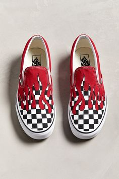 004dda8284d Slide View  5  Vans Slip-On Checkerboard Flame Sneaker Custom Slip On Vans