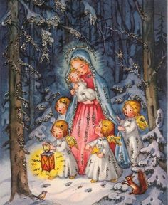 Christmas Scenes, Christmas Past, Christmas Nativity, Christmas Pictures, Christmas Angels, Vintage Greeting Cards, Vintage Christmas Cards, Retro Christmas, Xmas Cards