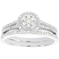 1/5 CT. T.W. Diamond Halo10K White Gold Bridal Set ($1,350) ❤ liked on Polyvore featuring jewelry, rings, bridal rings, brides ring, diamond bridal rings, bridal jewelry and white gold rings