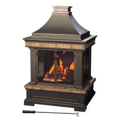 Sunjoy Amherst 35 in. Wood Burning Outdoor Fireplace-L-OF082PST-3 at The Home Depot