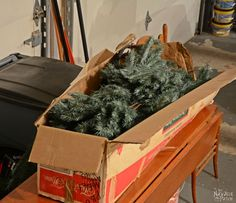 Learn how to make Christmas decorations from an old fake Xmas tree. Outdoor Christmas garland, swag and an alpine tree - DIY Christmas decor at its finest! Outdoor Christmas Garland, Whimsical Christmas Trees, Tabletop Christmas Tree, Diy Christmas Decorations Easy, Christmas Swags, Holiday Decorating, Fake Xmas Tree, Real Christmas Tree, Old Christmas