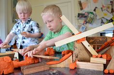 Play Dough Activity – Building with Play Dough and Wooden Blocks