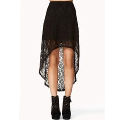 Black high to low skirt Lace black high to low skirt Forever 21 Skirts High Low