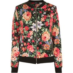 Hermine Floral Bomber Jacket ($26) ❤ liked on Polyvore featuring outerwear, jackets, multi, flower print jacket, floral print jacket, black zipper jacket, black flight jacket and blouson jacket