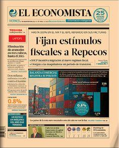 """""""Fijan estímulos fiscales a Repecos"""", en nuestra portada de este viernes 27 de diciembre de 2013."""