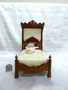 Wood Caved Miniature 1:12 Scale Madam's Bed--Walnut