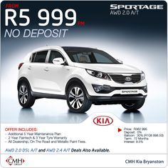 No deposit required! The Kia Sportage AWD 2.0 Automatic available from R5 999pm.