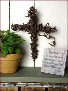 Handcrafted Barbed Wire Crosses are made in Texas with barbed wire from Central Texas.