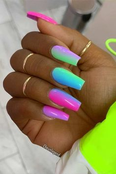 45 Cute & Stylish Summer Nails for 2019 – Krys._officiel 45 Cute & Stylish Summer Nails for 2019 Vibrant Multi Color Nails for Summer Bright Summer Acrylic Nails, Best Acrylic Nails, Colorful Nails, Neon Nail Designs, Acrylic Nail Designs, Coffin Nails Designs Summer, Crazy Nail Designs, Elegant Nails, Stylish Nails