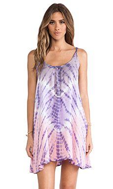Tiare Hawaii Voile Stud Mini Dress in Grey & Violet & Pink Vibe