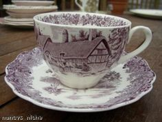 Vintage Staffordshire Purple Transferware Tea Cup & Saucer Romantic England Meakin