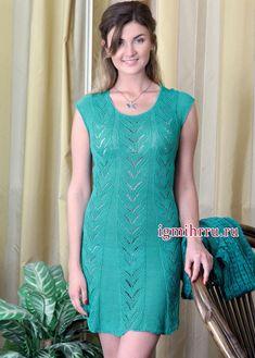 Летнее бирюзовое платье с ажурным узором. Вязание спицами