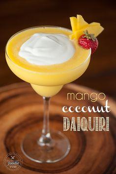 Mango Coconut Daiquiri - Made with fresh mango, coconut rum, and coconut cream on a hot summer day.