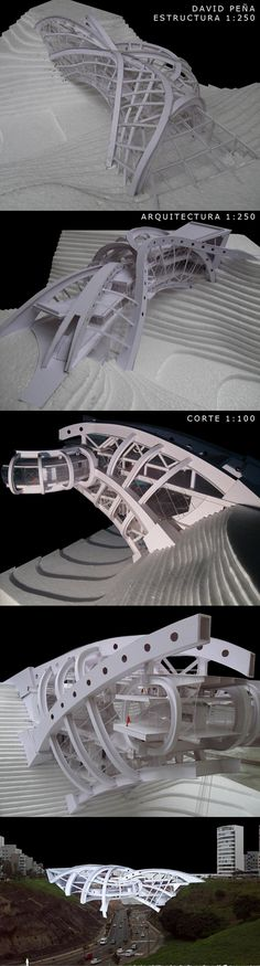 07º-PEÑA bridge architecture structure paper model maquet by DAVID PEÑA