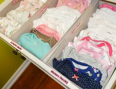 Organizing baby dresser, nursery dresser organization, baby stuff o Baby Bedroom, Nursery Room, Girl Nursery, Nursery Ideas, Ikea Nursery, Bedroom Ideas, Project Nursery, Dorm Room, Baby Clothes Storage