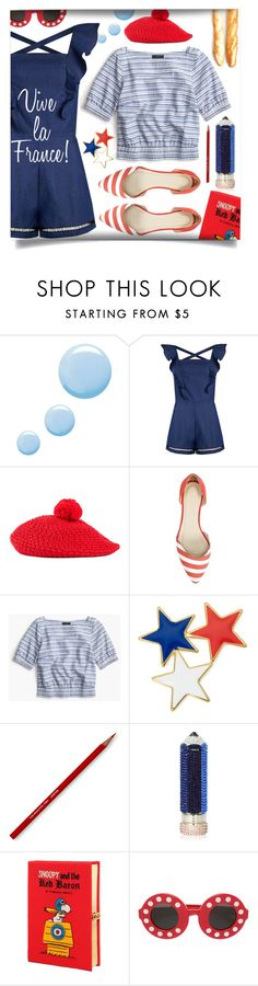 """Blue, White, Red"" by laste-co ❤ liked on Polyvore featuring Topshop, Gucci, John Lewis, J.Crew, Liz Claiborne, Judith Leiber, Olympia Le-Tan and Linda Farrow"