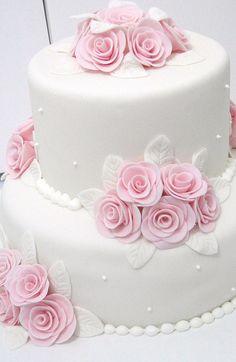 Rosas Elegant Wedding Cakes, Beautiful Wedding Cakes, Wedding Cake Designs, Beautiful Cakes, Cake Decorating With Fondant, Fondant Decorations, Cake Decorating Tips, Cookies Roses, Birthday Cake Greetings