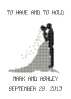 Modern Bride Groom Silhouette Cross Sch Pattern And Wedding Pdf File