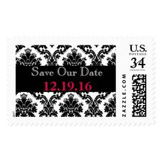 Damask Black & White Save Our Date Postage
