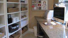 I like the ideas of having the desk away from the wall and the wall of shelves behind.