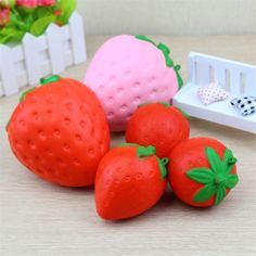 Zhenwei Squishy Toys Slow Rising Strawberry Fruit Jumbo Phone Strap Squishi Squeeze Toy Squishes No Sound Decoration Kindergarte Toy Storage Boxes, Toy Boxes, Toys For Tots, Toys For Girls, Fidget Gadget, Stress Cube, Strawberry Fruit, Toy 2, Best Kids Toys