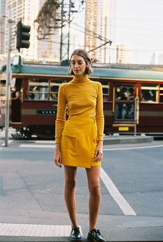 Yellow Wrap Skirt & Turtle Neck | Caves Collective