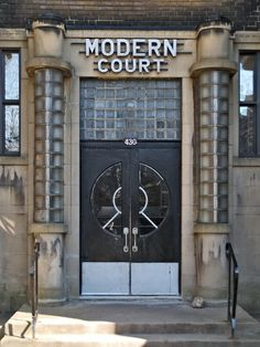 Modern Court, Montreal, Quebec, Canada by colros Aptly named apartment building dating to Architecture Tumblr, Building Architecture, Art Deco Door, Entry Way Design, Art Deco Buildings, Canada, Matte Painting, Environment Design, Art Deco Design