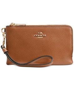 COACH DOUBLE CORNER ZIP IN POLISHED PEBBLE LEATHER - Wallets & Wristlets - Handbags & Accessories - Macy's