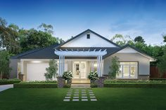 Rhode Island Façade on the Vancouver Display home at Stockdale Fields estate, Traralgon. Displayed with a Classic Hamptons World of Style interior.