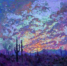 Saguaro Dusk Painting by Erin Hanson