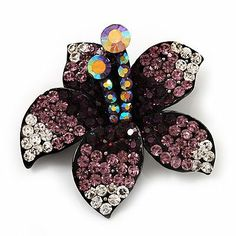 Stunning Purple Diamante Flower Brooch (Gun Metal Finish) Avalaya. $25.65. Metal Finish: black tone. Collection: floral. Occasion: anniversary, cocktail party, going to theatre. Theme: floral, flower. Gemstone: swarovski crystal, diamante