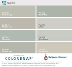 Sherwin Williams: Austere Gray Oyster Bay Mindful Gray Lattice Silvermist Silver Strand Sensible Hue Worldly Gray