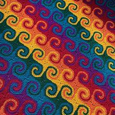 Crochet Bedspread Pattern, Afghan Crochet Patterns, Crochet Motif, Blanket Crochet, Crochet Baby, Knitting Patterns, Spiral Crochet, Rainbow Crochet, Rainbow Afghan