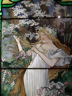 Detail, The Four Seasons, c. 1907 - 08, Alphonse Mucha. The Smith Museum of Stained Glass Windows, Chicago..
