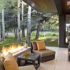 Linear Outdoor Fireplaces