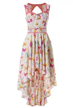 Butterfly Print Asymmetric Waterfall Dress