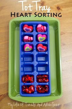 My Life of Travels and Adventures: Heart Themed Tot School - Ice Cube Sorting Tray