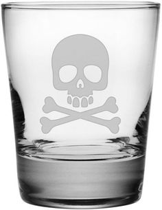 Skull & Crossbones Double Old Fashioned Glass