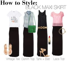 9b301ea0bbd5e Michael Kors Viola Espadrille Wedge Black Maxi Skirt Outfit
