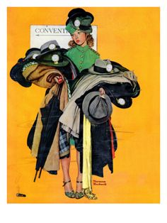 """Hatcheck Girl"", May 3,1941 Giclee Print by Norman Rockwell at  Art.com"