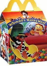 Mcdonalds Happy Meal. Happy Meal should have always been in a box, never the bag. Loved the toys way back when......