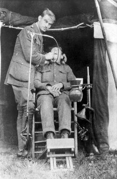 A First World War dentist working at a Casualty Clearing Station near Ypres, Belgium.