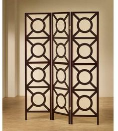 Bold pattern screen, Coaster Company 3 Circle Pattern Folding Screen, Cappuccino finish