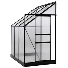 Ogrow Aluminium Lean-To Greenhouse – 25 Sq. Ft. – With Sliding Door And Roof Vent– 6X4X7ft (25 Sq.Ft, Greenhouse), Black (Aluminum) #OGAL-46, Gardening