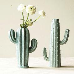 Stoneware Sage Cactus Vase, Set of 2