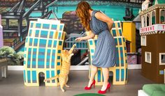 Betabrand Pet Lover's Perfect Dress worn in cat cafe and playing with animals